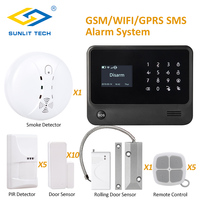 Pure Black WIFI Alarm Panel Security Alarm Burglar System with Anti pet Motion Sensors Smoke Detector Roller Shutter Sensor
