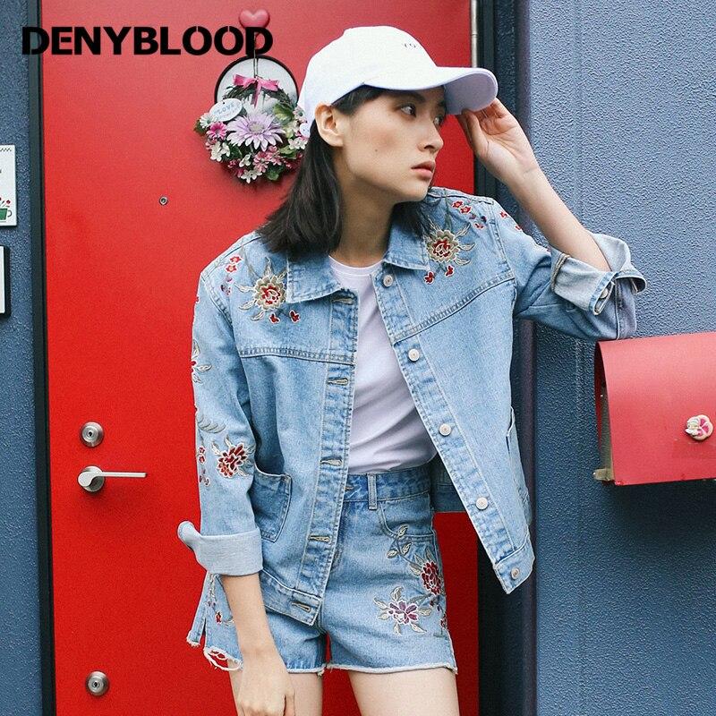 Denyblood Jeans 2017 Primavera Verano Mujer Denim Chaquetas Abrigos Bordados de