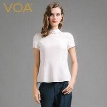 VOA In the spring of 2017 new women's silk white T-shirt short sleeve shirt spring slim slim silk B6690