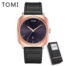 Tomi New Men Luxury Brand Rose Gold Leather Strap Watch Quartz Wristwatch Square Sport Waterproof Dress Relogio