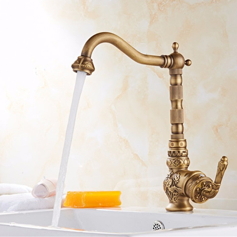 Retro Style Antique Brass Kitchen Faucet Cold and Hot Water Mixer Single Handle 360 Degree Rotation New Arrival TapRetro Style Antique Brass Kitchen Faucet Cold and Hot Water Mixer Single Handle 360 Degree Rotation New Arrival Tap