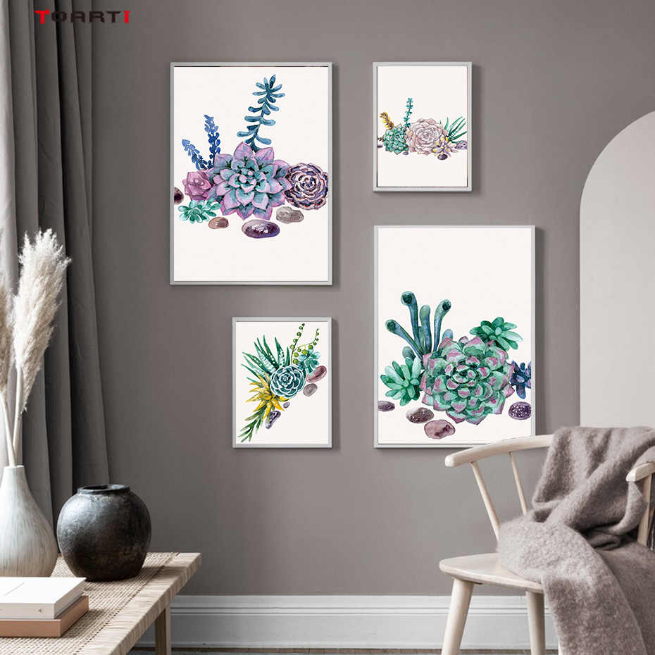 Watercolor Cactus Flower Succulent Posters And Prints Wall Art Natural Canvas Painting Wall Pictures For Living Room Home Decor