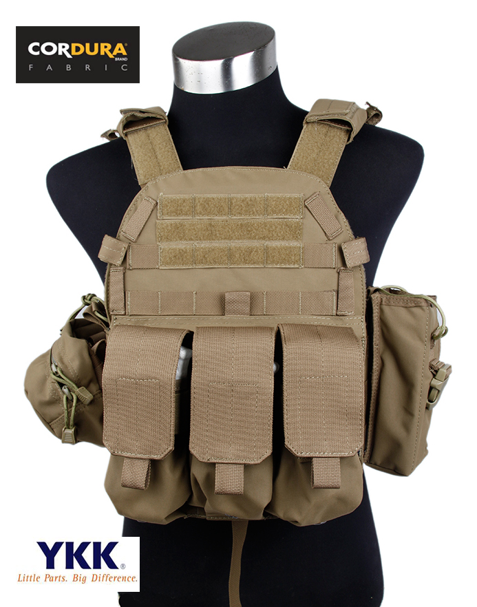 6094 Plate Carrier Tactical Vest Coyote Brown Set Cordura Fabrics Vest(STG050394) рюкзак tactical pro trek coyote
