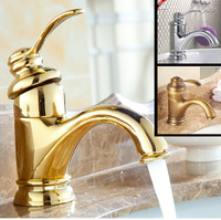 High quality silver golden antique brass mixer tap faucet deck mounted hot and cold water
