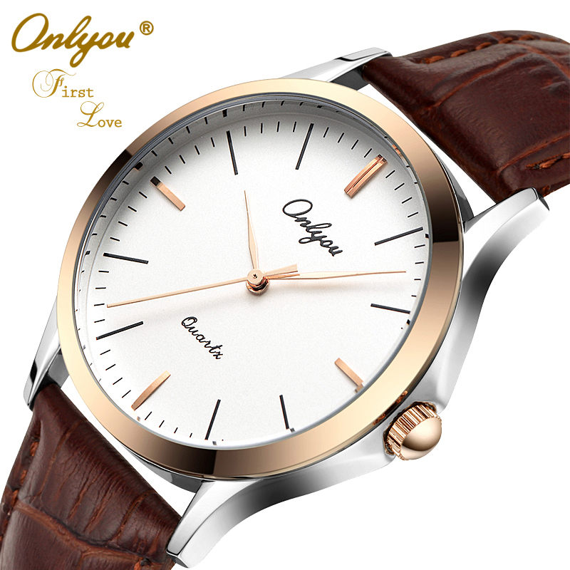 Onlyou Luxury Brand Fashion Casual Lovers Watches Women font b Men b font Leather Watchband Boys