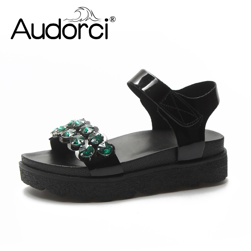 Audorci 2018 Summer Womens Bling Sandals Woman Fashion Gladiator Outdoor Flip Flops Sandles Female Thick Heel Shoes Size 35-39