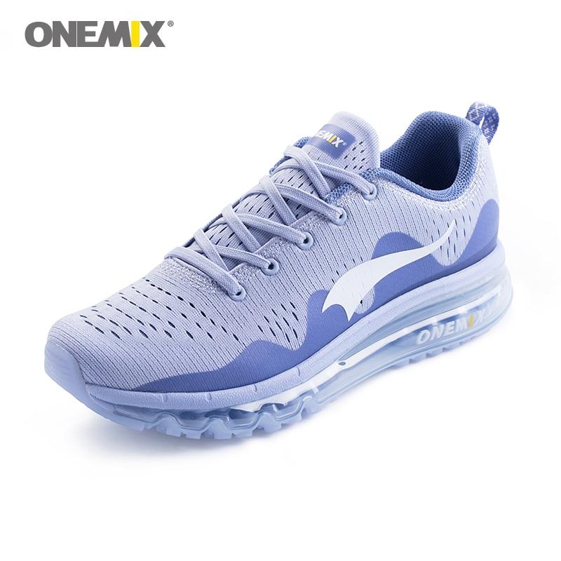 Onemix femmes chaussures de course femmes chaussures de sport baskets amortissement coussin respirant tricot maille vamp pour chaussures de marche en plein air