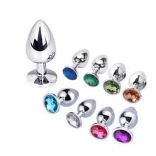 Stainless Steel Anal Beads Plug Proatate Masaager Crystal Jewelry Butt Dildo G-spot Vaginal Stimulation Masturbator S/M/L