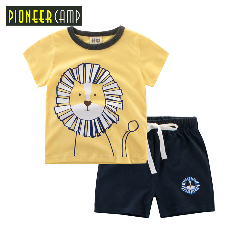 Pioneer Camp Kids 2017 Baby Boys Sets Summer Boys Sets Clothes T shirt+short Pants cotton sports Letter printed Set Brand Kids pioneer cam t shirt