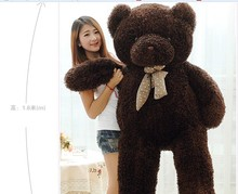 huge lovely black chocolate teddy bear doll candy colours teddy bear with spots bow plush toy doll birthday gift about 160cm