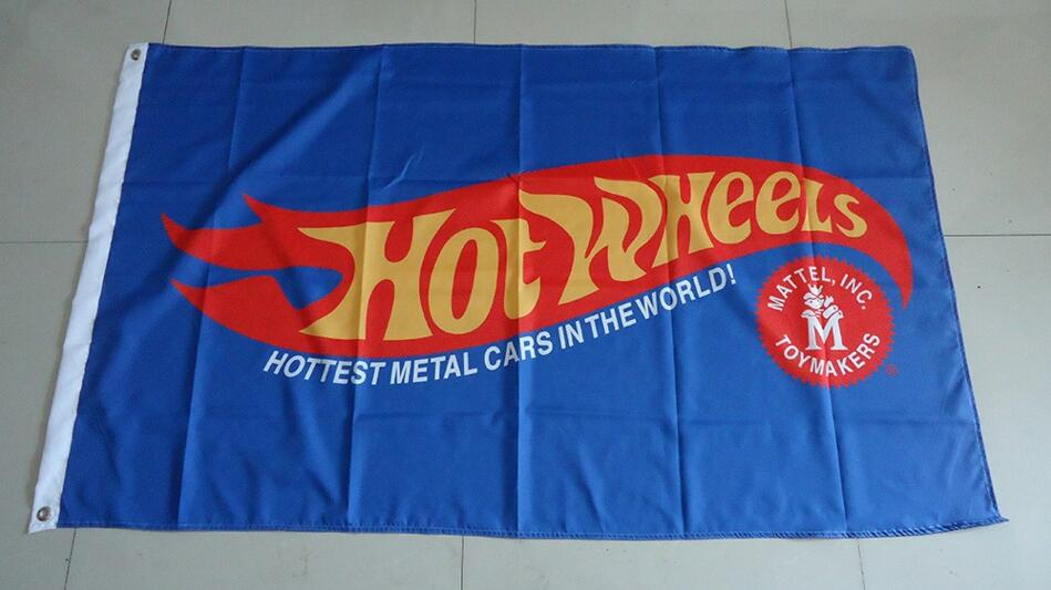Hot Wheels Blue   Flag For Service,hot Wheels Car Banner, 90X150CM Size,100% Polyster