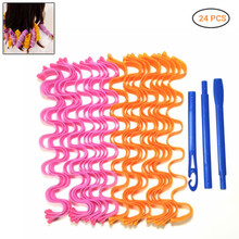 24 Pcs DIY Lady Magic Long Hair Curlers Spiral Ringlets Wave Curl Leverage Rollers Formers Ripple Hair Curlers
