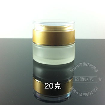 50pieces wholesale 20g clear frost glass cosmetic jar, 20g glass jar or cream container, 20g eye cream jar with matte gold cap