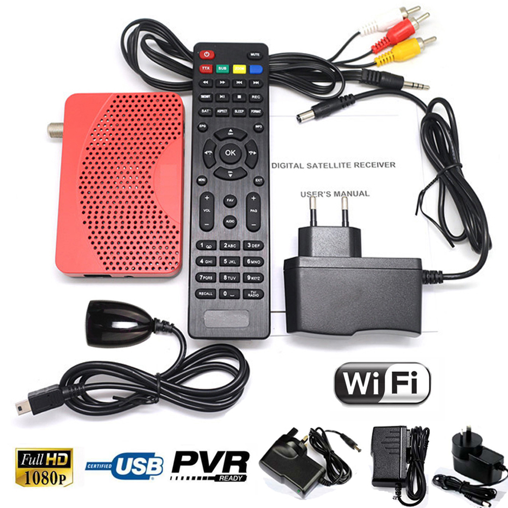 North / South America 1080P DVB-S2 DVB-S Digital Satellite Mini Size Receiver Tuner Wifi IKS Internet Cccam Vu Key Set Top Box