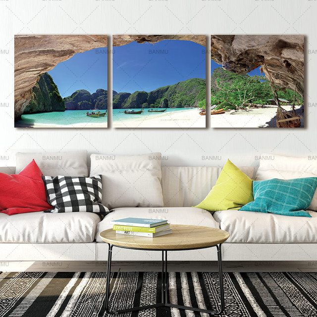 Canvas Painting Wall Art Picure Poster Seascape Modern Picture Coco Tree Print Living Room