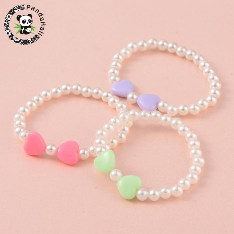 Imitation Pearl Acrylic Beaded Stretch Kids Bracelets, with Opaque Acrylic Beads, Mixed  ...