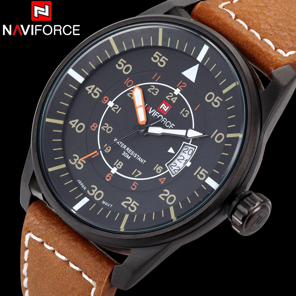 Prix pour 2017 NAVIFORCE Nouvelle montres hommes marque de luxe mode casual militaire Sport montres 3ATM étanche Analogique Quartz en cuir Montre