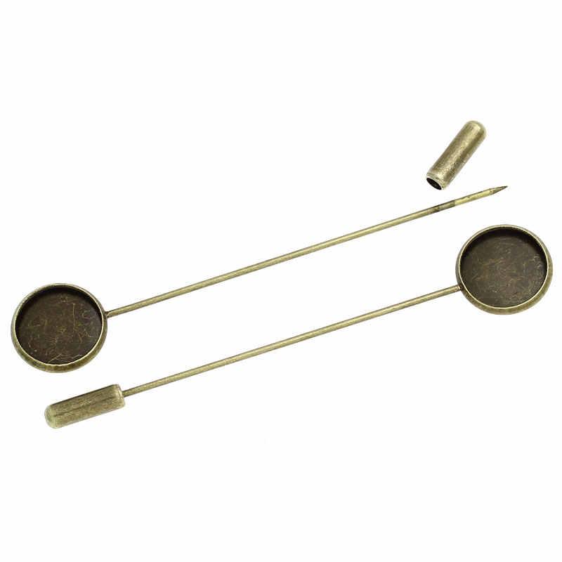 """Doreenperles cuivre broches résultats rond Antique Bronze Cabochon réglages (convient à 12mm) 7.4cm (2 7/8 """") x 14mm (4/8""""), 1 pièce 2017 nouveau"""