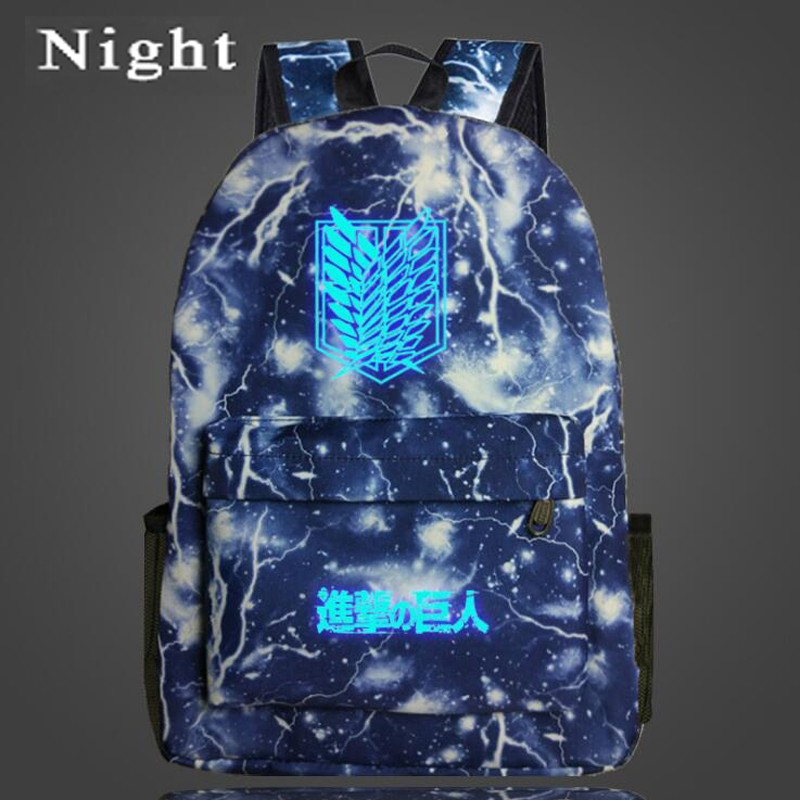 Night Luminous Attack on Titan Backpack Japan Anime Printing Backpack Cartoon Light Bag Nylon Galaxy School Bag for Teenagers