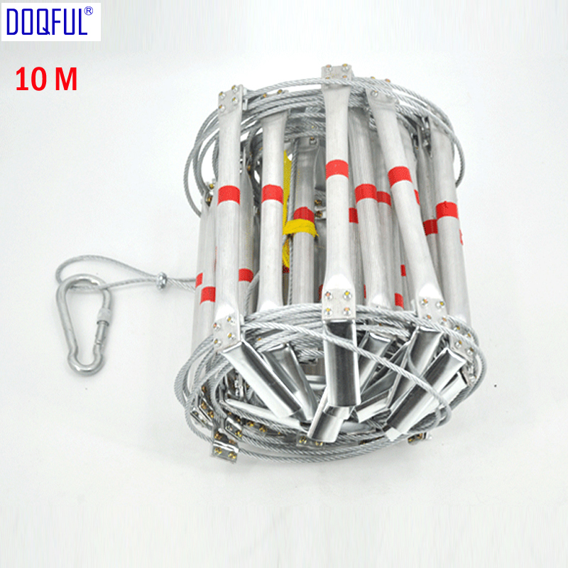 10M Fire Escape Safety Ladder 33FT Folding Steel Wire Rope Ladders Aluminum Alloy Emergency Survival Rescue Antiskid Tools