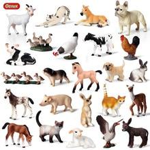 Oenux boneco de brinquedo de animais, modelo de animais de fazenda clássico de porco, pato, cão, vaca, tamanho pequeno, boneco de brinquedo em miniatura criança criança