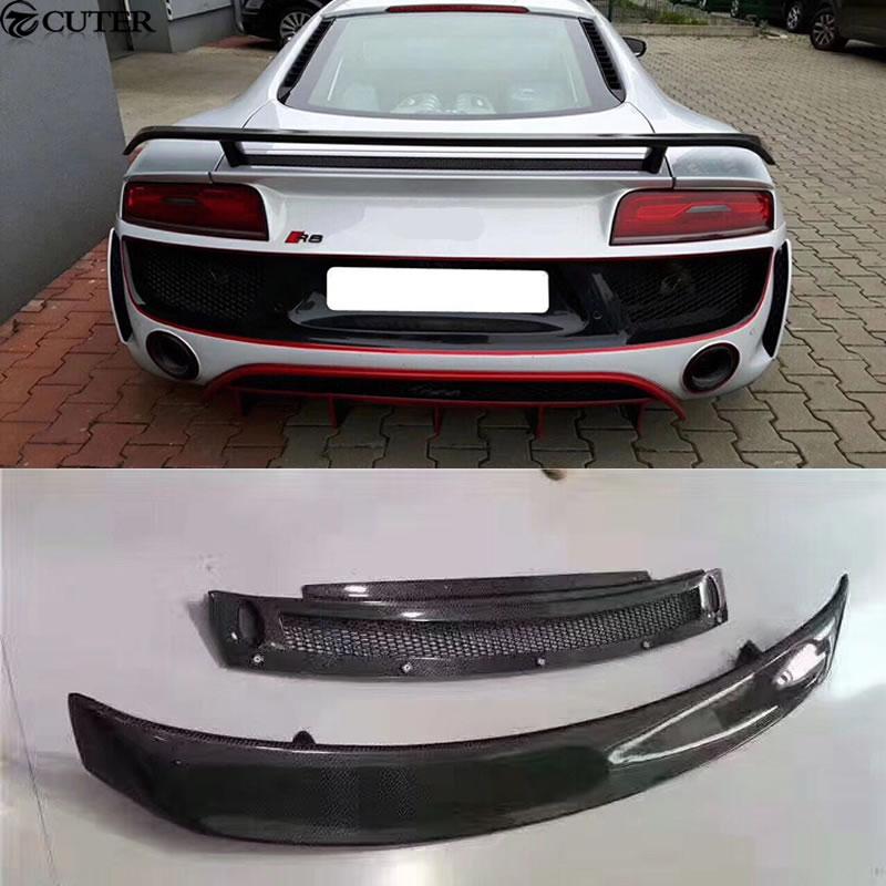 R8 car body kit Carbon Fiber Rear Trunk Wing Spoiler for Audi GT V8 V10 Car Tail Lip 08-14