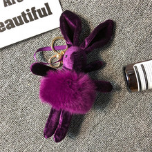 Creative Fluffy Rabbit Keychain Pendant Fur Pompoms Key Chain Pom Bag Charm Car Ring 18CM