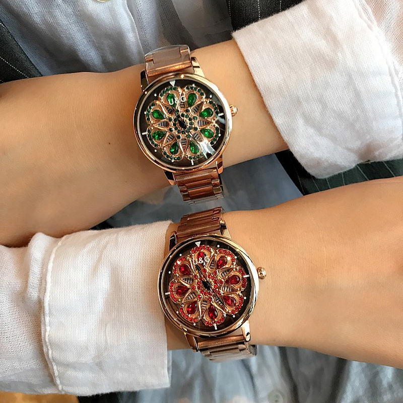 Dropshipping Fashion 360 Rotating Color Diamond Large Dial Ladies Watch Multifunction Waterproof Women's Watch Relogio Feminino