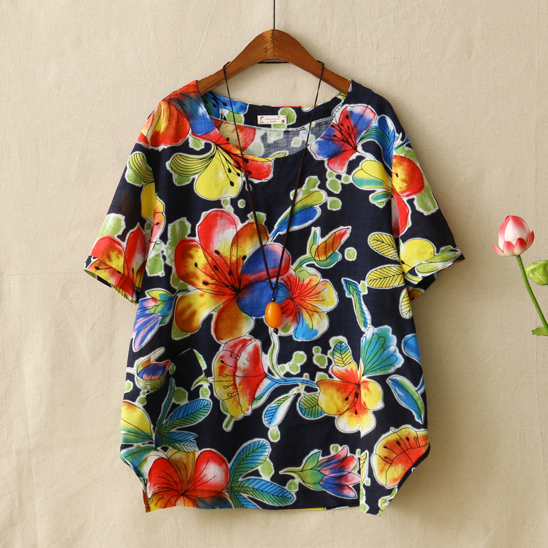 Summer Style Multicolor Floral Printed Women Tee Shirts Round Neck Short Sleeved Cotton Linen T Shirt Female Clothes Loose Tops