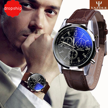 Splendid New Luxury Fashion Faux Leather Men Blue Ray Glass Quartz Analog Watches Casual Cool Watch Brand Men Watches 2018