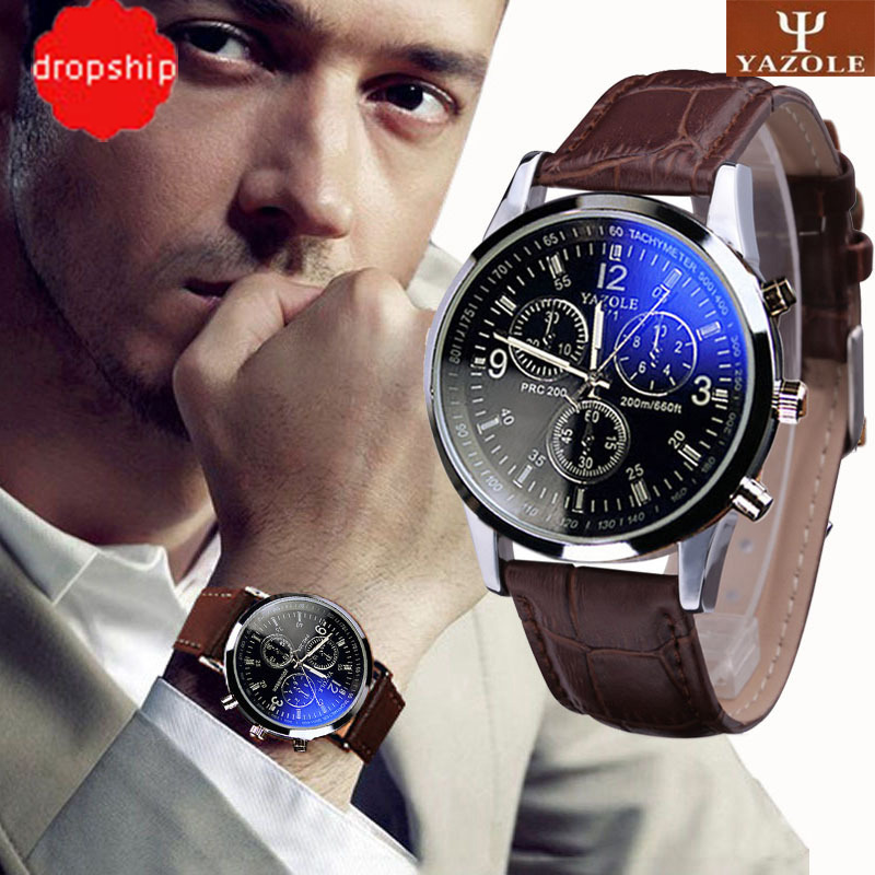 Splendid New Luxury Fashion Faux Leather Men Blue Ray Quartz Analogowe zegarki Casual Cool Watch Marka Men Zegarki 2018