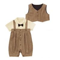 Newborn Baby Boys Waistcoat Set Kids Brown Shirts Bib Pants Rompers Overall Gentleman Set Clothing Suit