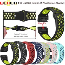 22mm Fenix5 Quick Release Sport Silicone Watch Band Strap for Garmin Fenix 5/5 Plus/Forerunner 935/Instinct/Quatix 5 Smart Watch new watch case for garmin fenix 5 gps replacement silicon slim cover protector shell for garmin fenix5 plus forerunner 935 watch