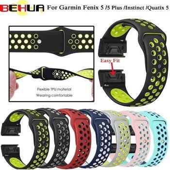 22mm Fenix5 Quick Release Sport Silicone Watch Band Strap for Garmin Fenix 5/5 Plus/Forerunner 935/Instinct/Quatix 5 Smart Watch