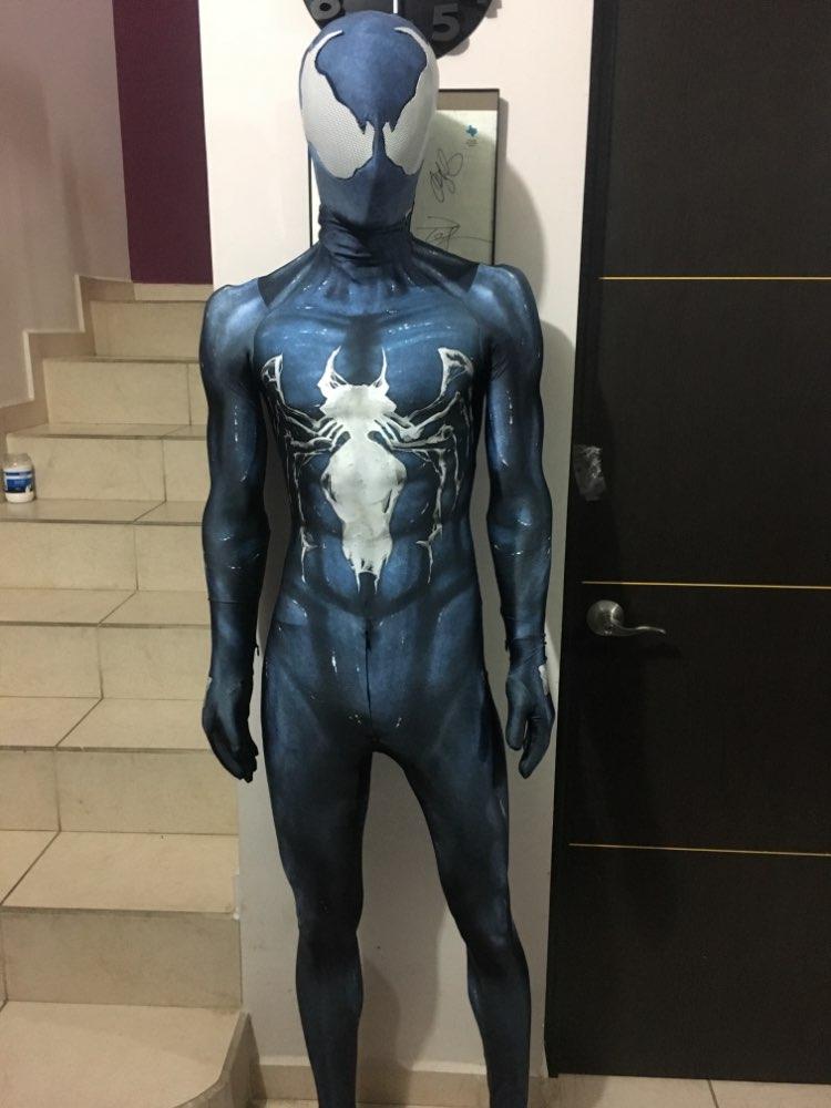 Venom symbioteスパイダーマン衣装コスプレハロウィン全身タイツスーツ黒スパイダーマンスーパーヒーロー衣装用の大人/子供/カスタムメイド  グループ上の ノベルティ & 特殊用途 からの 映画 & テレビ衣装 の中 1