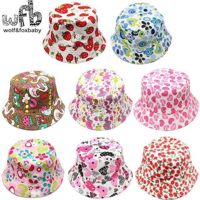 Bán lẻ 2-6years sunbonnet sun mũ in ấn Ngư Dân mũ bé trẻ em kids mùa xuân hè fall