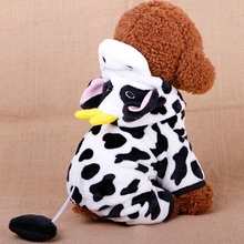 Winter Cat Clothes Coat Cow Costumes Thickening Pet Cat Clothes For Small Cat Fleece Cartoon Sweater Pet Clothes