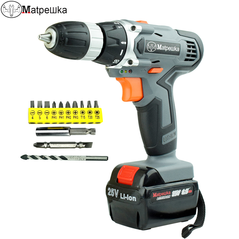 25V Battery Electric Screwdriver Multi-Function Drill Bit Rechargeable Drill Hand Torque Electric Drill bits Power Tools free shipping brand proskit upt 32007d frequency modulated electric screwdriver 2 electric screwdriver bit 900 1300rpm tools