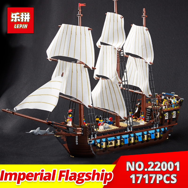 Lepin 22001 Pirates Series The Imperial war ship Model Building Kits Blocks Bricks Toys Gifts for Kids 1717Pcs Compatible 10210 lepin 22001 imperial warships 16006 black pearl ship model building blocks for children pirates series toys clone 10210 4184