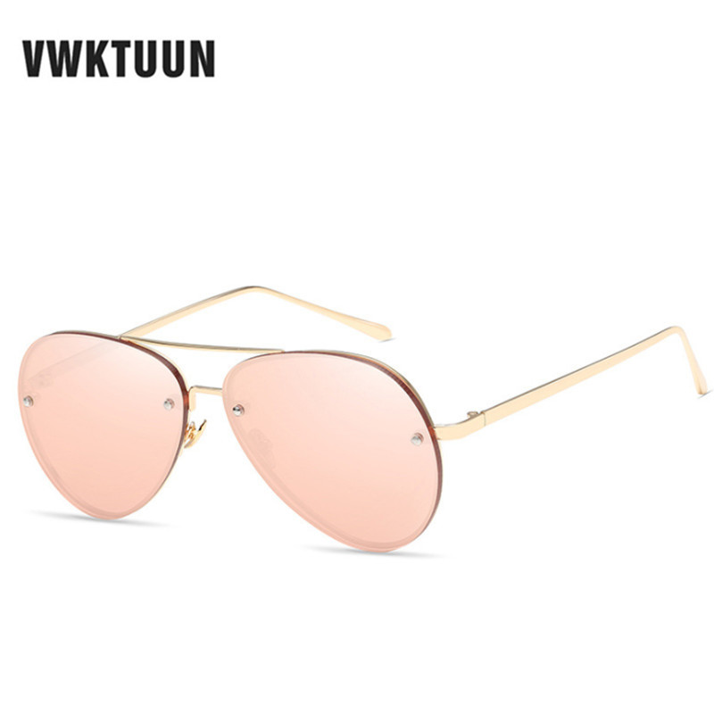 VWKTUUN Mirror Metal Frame Luxury Pilot Sunglasses Women Men Vintage Sun Glasses Ladies Male Classic Eyewear Shades Sunglass