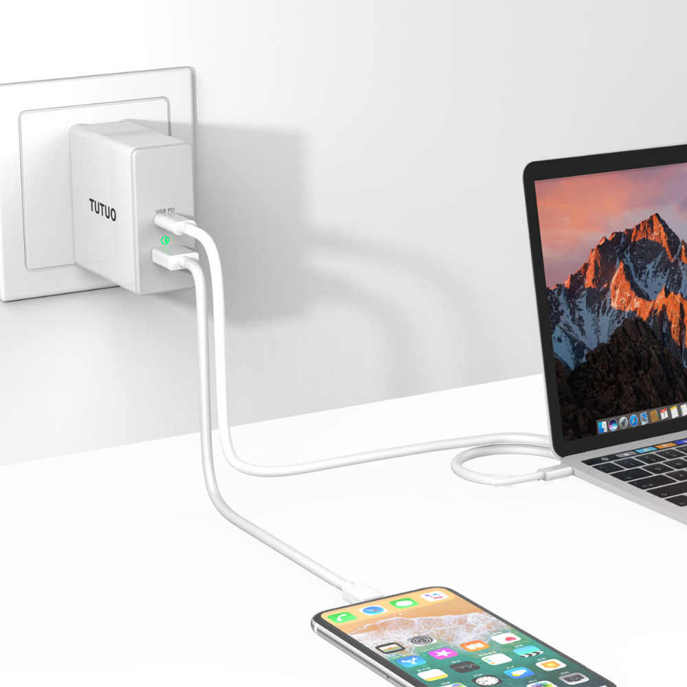 premium selection 97898 8560a TUTUO 60W USB C PD Quick Charge 3.0 Fast Wall Charger for iPhone X 8 Plus,  Galaxy S8 S9 Plus, Huawei P20 Mate 10 Pro(EU+US+UK)