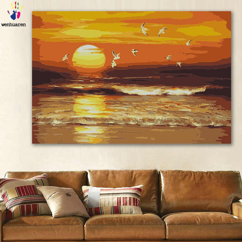 DIY colorings pictures by numbers with color Sunset view Evening view Leisure scenery picture drawing painting by numbers framed