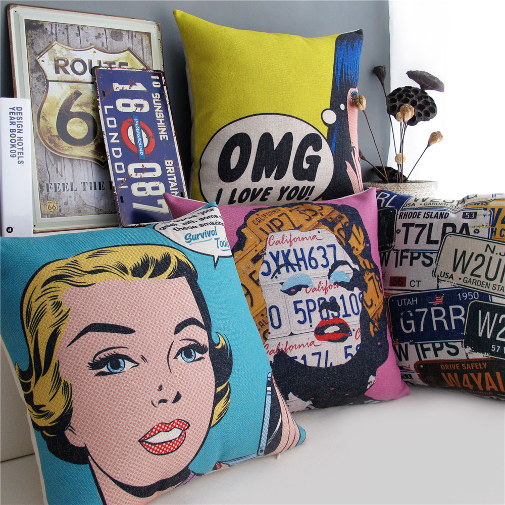 Marilyn monroe french chair - American Vintage Pop Art Style Marilyn Monroe Cushion Cover English Letters Pillow Covers Decorative Chair Linen