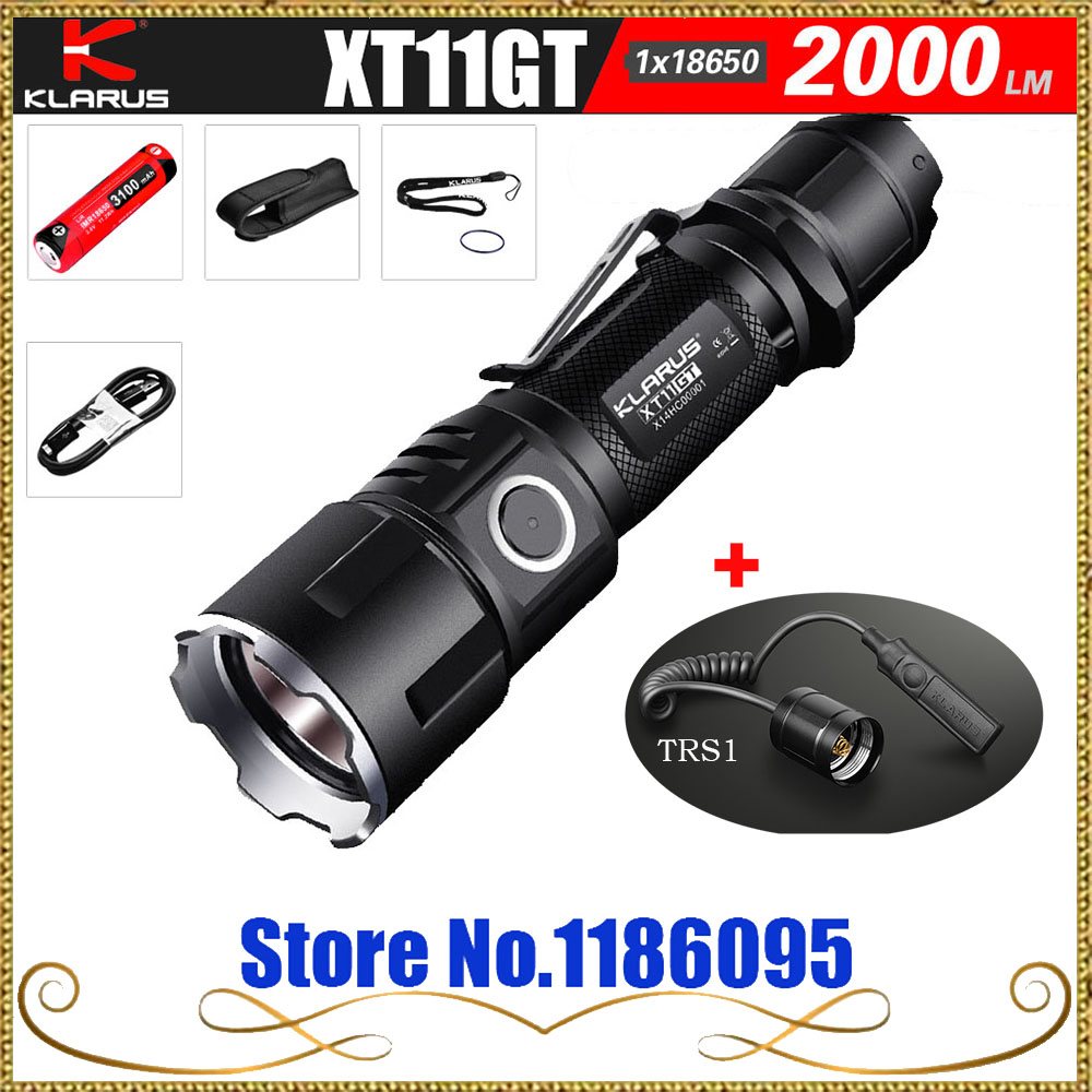 KLARUS XT11GT Newest CREE XHP35 HD E4 LED 2000 Lumen  Tactical Flashlight  USB charging by 3100 mAh 18650 Li-ion batteries+TRS1 new klarus xt11gt cree xhp35 hi d4 led 2000 lm 4 mode tactical led flashlight free usb port and 18650 battey for self defence