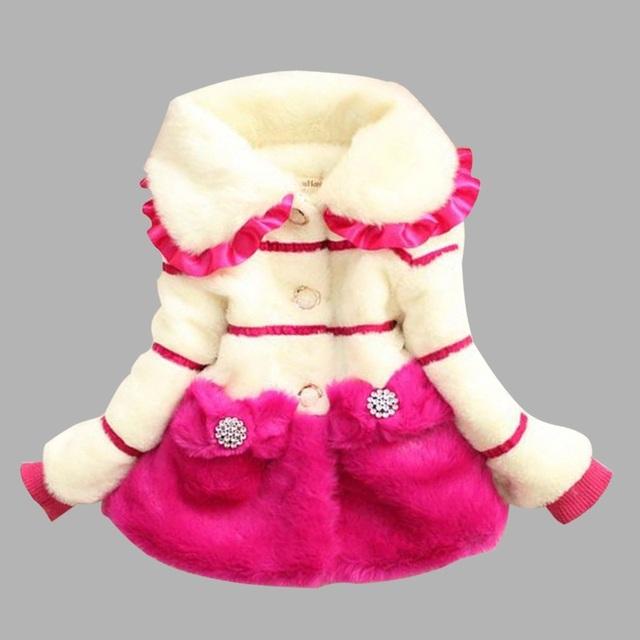 Kindstraum crianças da pele do falso casacos de inverno do bebê da princesa menina casacos crianças marca de moda outerwear térmica quente tops, HC499