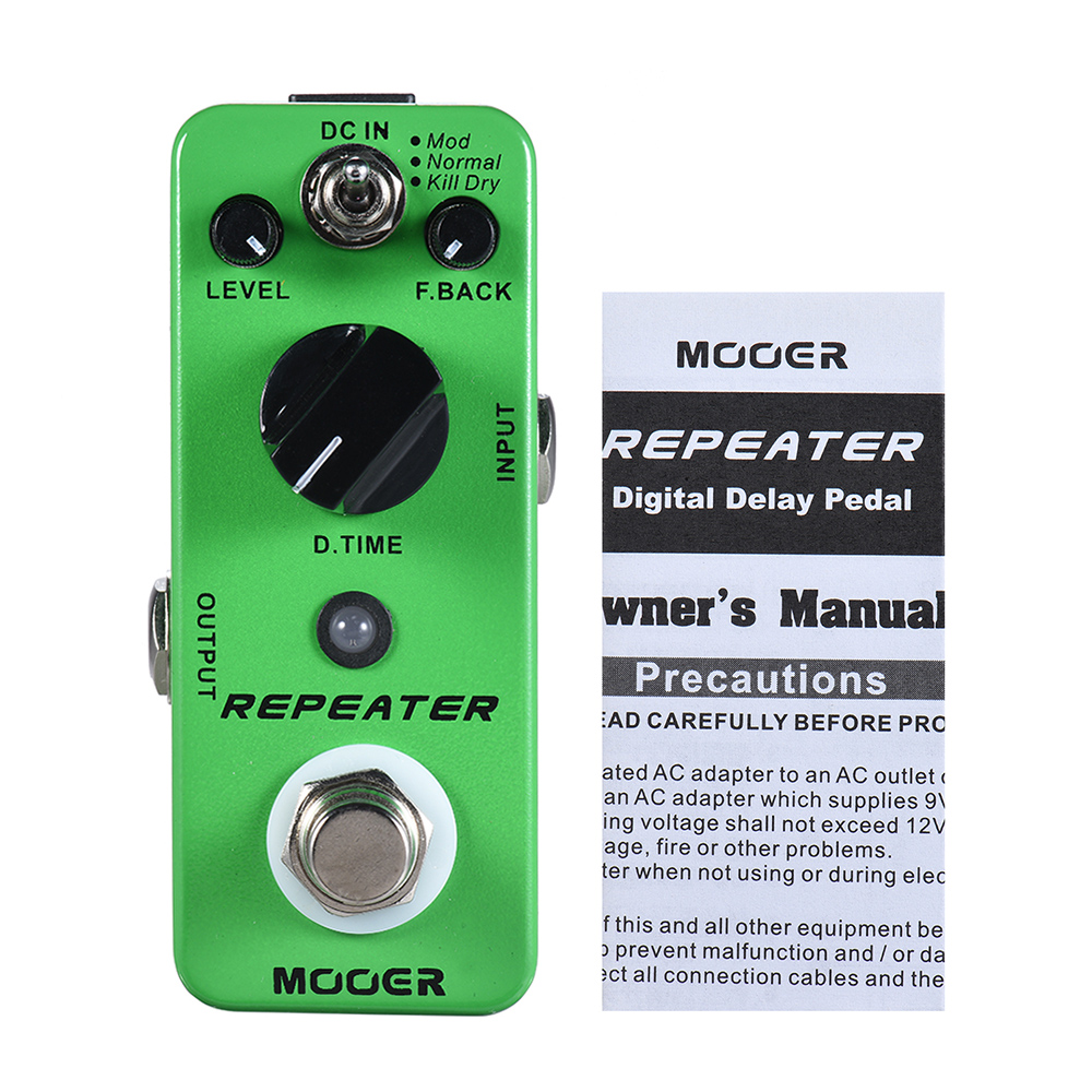 High Qualiy MOOER REPEATER Digital Delay Guitar Effect Pedal 3 Modes True Bypass Full Metal Shell