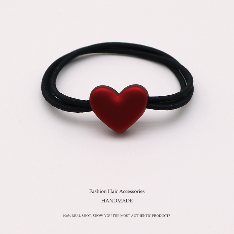 Euhra Popular Black Nylon Rubber Band Red Resin Love Dog Bow-Knot Pendant Elastic Hair Bands For Women's And Girls Headwear