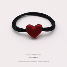 Euhra Popular Black Nylon Rubber Band Red Resin Love Dog Bow-Knot Pendant Elastic Hair Bands For Womens and Girls Headwear