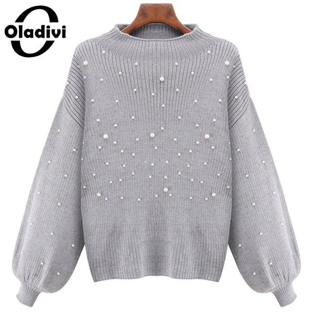 Oladivi Women Pearl Sweater 2016 Winter Autumn Knitted Tops Warm Pullovers Long Sleeve Female Fashion Casual Sweaters Plus Size