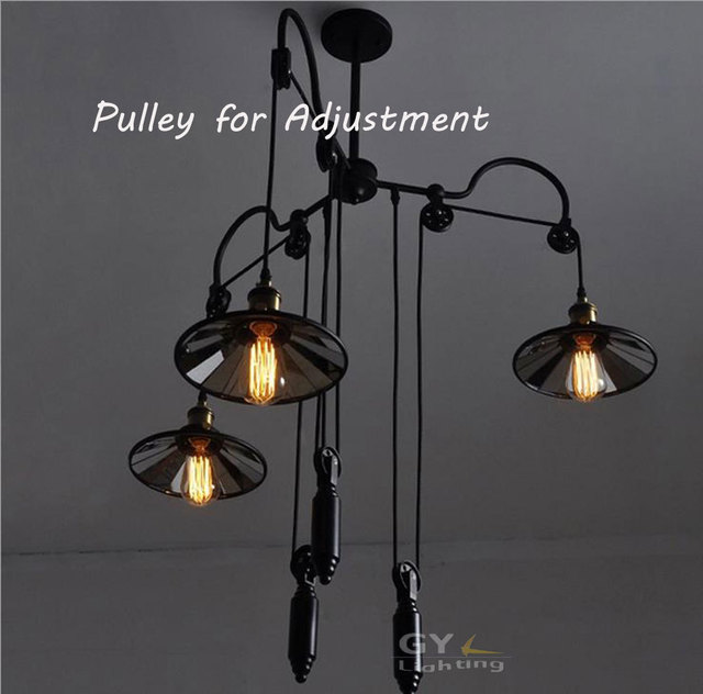 Ac100 240v 3 head vintage iron industrial pulley chandelier lights ac100 240v 3 head vintage iron industrial pulley chandelier lights adjustable wire lamp retractable bar aloadofball Image collections